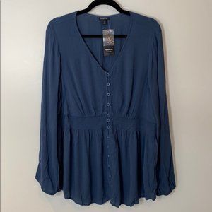 Torrid Blue gauze smoked Long Sleeve blouse sz 1X